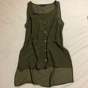 Wishful Park - Sheer Hunter Green Button-Up Tunic